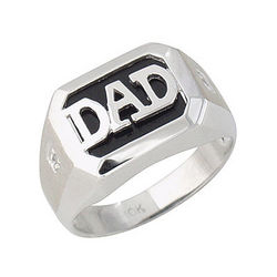Onyx and Diamond Dad Ring in 10k White Gold