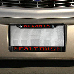 Atlanta Falcons Black Chrome License Plate Frame