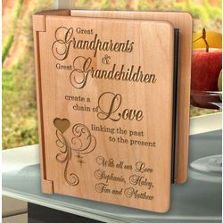 Personalized A Great Chain of Love Wooden Photo Album