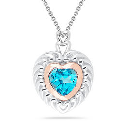 Swiss Blue Topaz Heart Pendant in Gold and Silver
