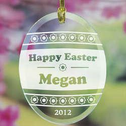 Engraved Floral Design Easter Egg Suncatcher