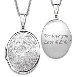 Silvertone Floral Oval Locket
