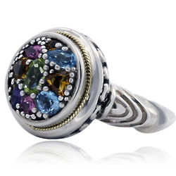 Multi Color Gem Stone Ring