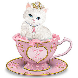Breast Cancer Support Faberge-Inspired Cat Figurine