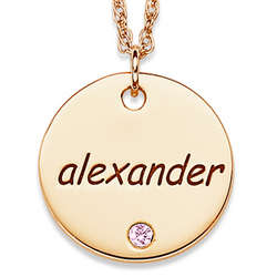 Gold Over Sterling Name and Birthstone Disc Necklace
