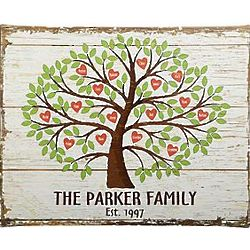 Personalized Family Tree of Hearts Canvas