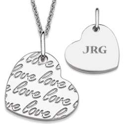 Silvertone Love Heart Engraved Initials Necklace