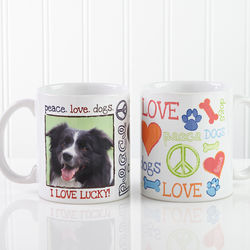 Personalized Peace, Love, Dogs Coffee Mug