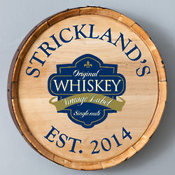 Wooden Whiskey Barrel Sign