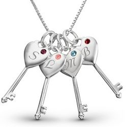 Sterling Silver Four Birthstone Key Necklace