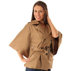 Double Breasted Wide-Sleeve Trench Coat Top in Camel