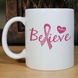 Believe Breast Cancer Awareness Personalized Coffee Mug