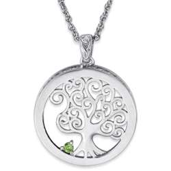 Platinum Plated Celtic Tree Birthstone Pendant