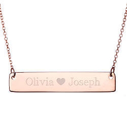 Couple's Personalized Heart Rose Gold Name Bar Necklace
