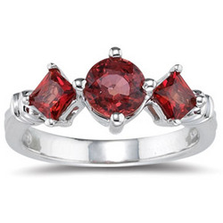 1.80 Ct Red Sapphire Three-Stone Ring in 14K White Gold