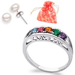 I Love You Family Birthstone Ring with Pearl Earrings