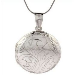 Round Sterling Silver Locket with Etched Floral Design