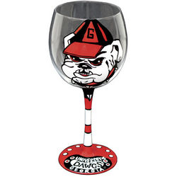 Georgia Bulldogs Handpainted Wine Glasses