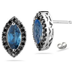 Black Diamond and London Blue Topaz Earrings