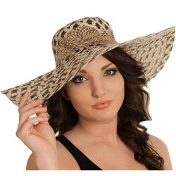 Basket Weave Wide Brim Floppy Sun Hat