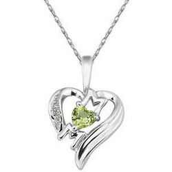 Heart-Shaped Peridot and Diamond Mom Pendant in 10K White Gold