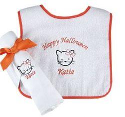 Halloween Kitty Burp Cloth and Bib Set