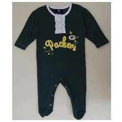 Green Bay Packers Newborn Girl's Ruffled Coverall