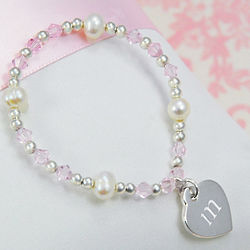 Personalized Little Girl's Heart Charm Bracelet