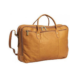 Leather Double Top Zip Briefcase