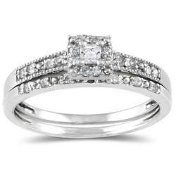 10K White Gold Princess Diamond Bridal Set