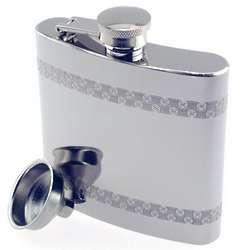 Engraved Pattern Band Pocket Flask