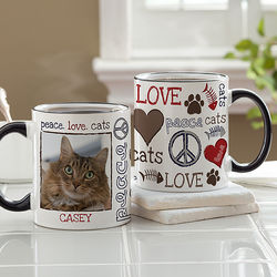Peace, Love, Cats Personalized Coffee Mug with Black Handle