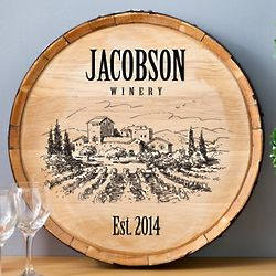 Rustic Personalized Wine Barrel Sign