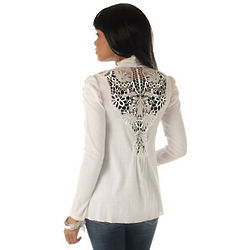 Ivory Light Weight Rib Knit Crochet Back Cardigan