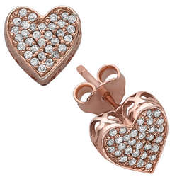 Rose Gold Over Sterling Heart Cubic Zirconia Studded Earring