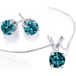 Blue Diamond Necklace and Earrings Set
