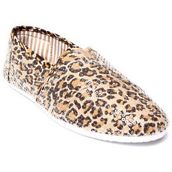 Women's Tan Animal Sequin Casual Sneakers