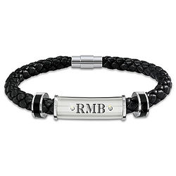 Son's Personalized Stainless Steel and Braided Leather Bracelet