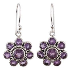 Morning Glitter in Purple Amethyst Dangle Earrings