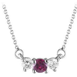 4 mm Ruby & 1/4 Cts Diamond Pendant in 18K White Gold