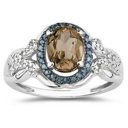 Smokey Quartz Blue and White Diamond Ring in 10K White Gold