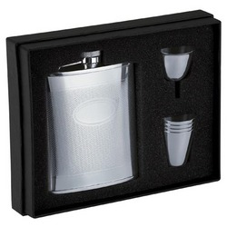 High Polish Stainless Steel Hip Flask Set