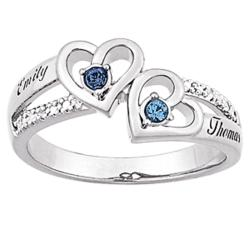 Sterling Silver Couple's Heart Birthstone and Name Diamond Ring