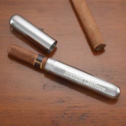 Engraved Silver Cigar Case