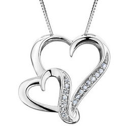 Diamond Heart Pendant Necklace in Sterling Silver