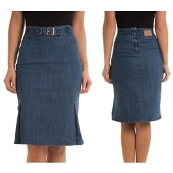 Highwaist Denim Pencil Skirt with Belt