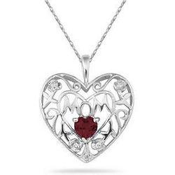 Garnet and Diamond Mother's Rose Pendant