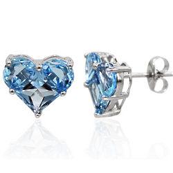 14K White Gold Heart Shape Blue Topaz Earrings