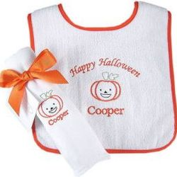 Halloween Pumpkin Burp Cloth and Bib Set
