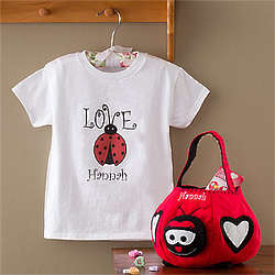 Girl's Personalized Ladybug T-Shirt